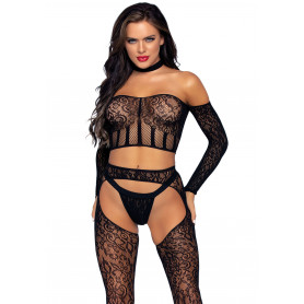 Set lingerie erotica Top, Suspender Hose & G-string