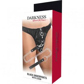 Slip con guinzaglio DARKNESS BLACK UNDERPANTS WITH LEASH