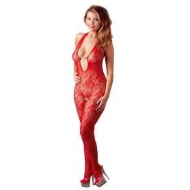 Tuta bodystocking rossa con perle catsuit pearl red