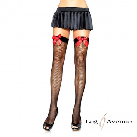 CALZE A RETE HOSIERY FISHNET BOW BLACK RED