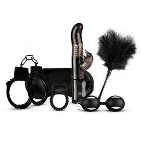 Kit sex toys con vibratore rabbit vaginale palline vaginali manette anello fallico nero love kit black