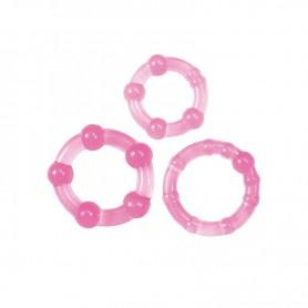 kit anello fallico 3pz contro eiaculazione precoce sex toys cockring rosa
