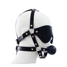 Imbracatura per viso con maschera per occhi e morso total head harness restraint black