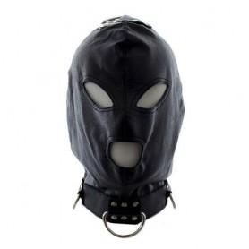 Bondage hook mask collar black maschera collare fetish nero per uomo e donna integrale in simil pelle