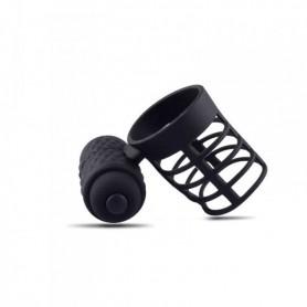 Guaina fallica prolunga per pene anello fallico vibrante indossabile estensore nero