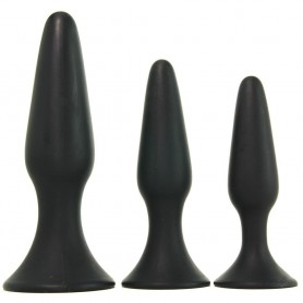 Kit Fallo anale tappo anal nero dildo black set 3 pz mini med maxi butt plug