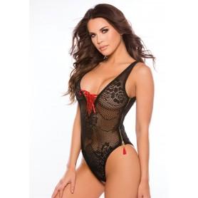 body lingerie intimo nero a rete aperto scollato