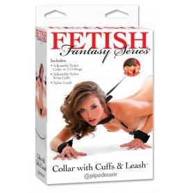 Guinzaglio bondage fetish con collare costrittivo manette e cavigliere sex toys restriant