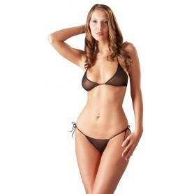 completino intimo lingerie sexy nero mutanda reggiseno trasparente donna black