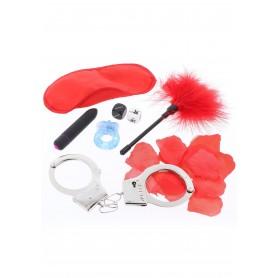 set gioco manette frustino anello maschera vibratore rosso