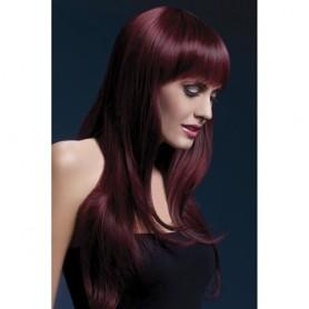 parrucca rossa con sfumature in nero per donna sexy lunga con frangia sensuale