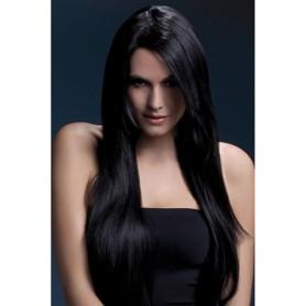 parrucca professionale nero lunga realistica resistente donna sexy black 71 cm