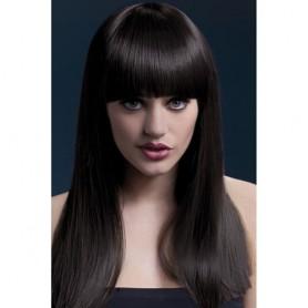 parrucca castano scuro con frangia sexy donna professionale morbida 48 cm