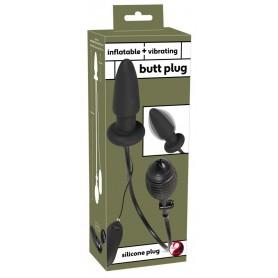 plug anale nero in silicone vibrante gonfiabile con telecomando butt black anal