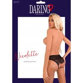 Slip microrete trasparente con pizzo e apertura intima Nicolette crotchless panty