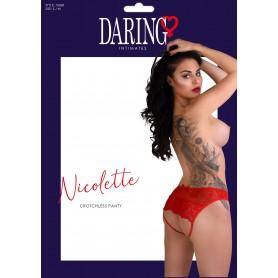 Slip trasparente con apertura intima e pizzo Nicolette crotchless panty