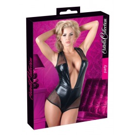 Body sexy donna in simil pelle nero